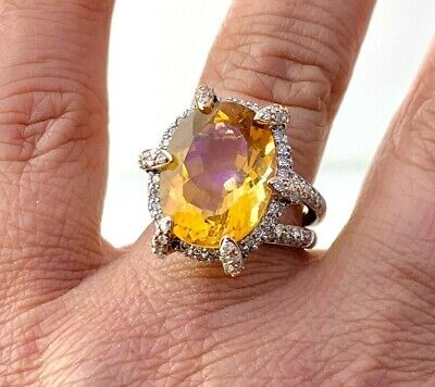 £1439.82 • Buy  Statement Bold Ring Natural Diamond & Citrine In 14k Solid 2 Tone Gold Sz6