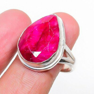 £3.94 • Buy Kashmir Red Ruby Gemstone Handmade 925 Sterling Silver Jewelry Ring Size 8 I849