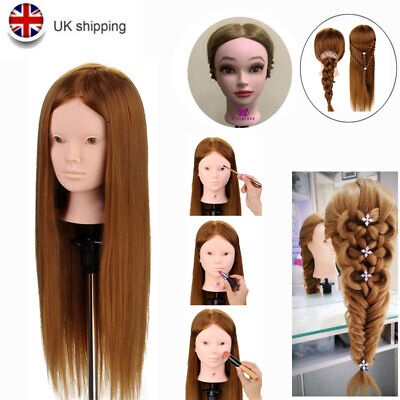 £17.99 • Buy Cosmetology 24'' Real Hair Practice Styling Mannequin Makeup Training Head Clamp