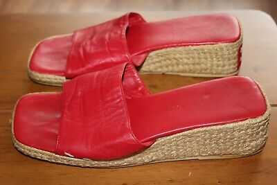 £10 • Buy Roland Cartier Size Uk 4 Eur 37 Ladies Leather Red Wedge Sliders Good Condition