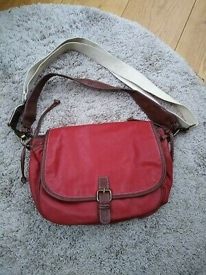 £4 • Buy Ladies Next Red And Tan Faux Leather Crossbody Bag With Detachable Strap