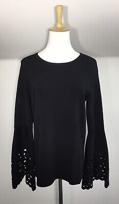 AU36 • Buy Forever New Top Sz 10 12 Black Fine Knit Flare Sleeve Party Workwear NWOT ❤️