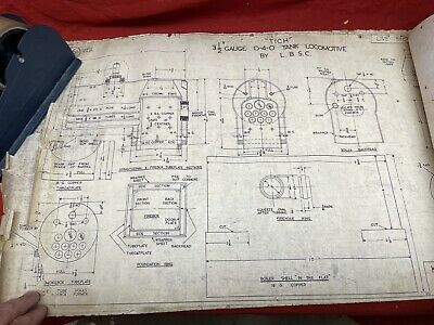 £20 • Buy KENNION BROS LIVE STEAM 5 INCH GAUGE PLANS FOR  TITCH   LOCO VINTAGE 10 Pages