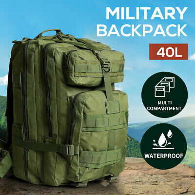 AU36.99 • Buy 40L Military Tactical Backpack Hiking Camping Rucksack Outdoor Trekking Army Bag