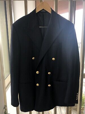 $229.26 • Buy Polo Ralph Lauren Navy Wool Double Breasted Blazer Jacket 42 44 44L Large