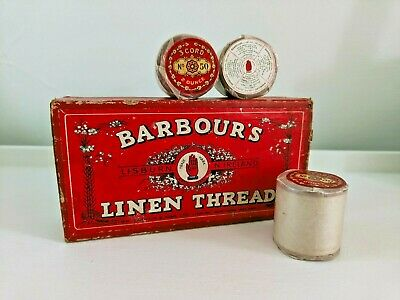 £60 • Buy 3 Spools Of Vintage Irish Linen Barbour's 50/2 Thread Whitey Brown : Boxed