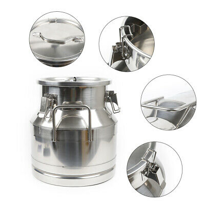 $70.25 • Buy One Piece 12L Small Stainless Steel Milk Can Wine Pail Tote Jug Lid For Restaura
