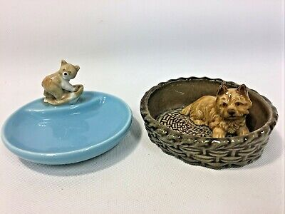£8.99 • Buy Wade Whimsies Animal Whimtray Bear & Wade Dog In Basket Collectable