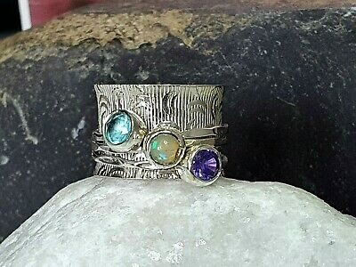 £23.99 • Buy For Her💎size M💎X3 OPAL-AMETHYST-TOPAZ Sterling SILVER Spinner-ANXIETY Ring