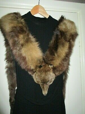 £30 • Buy  Vintage 1930s Double Cross Fox Stole. Very Good Condition Lined In Silk