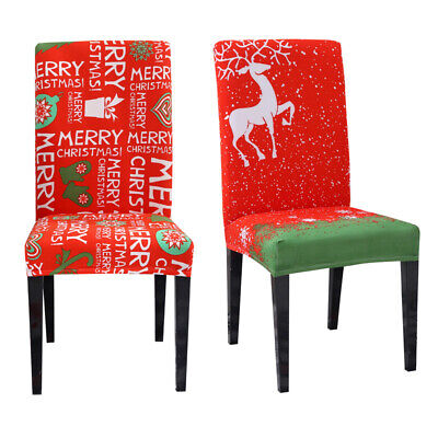 AU5.79 • Buy Christmas Universal Dining Chair Covers Stretch Seat Cover Slipcover Xmas Decor
