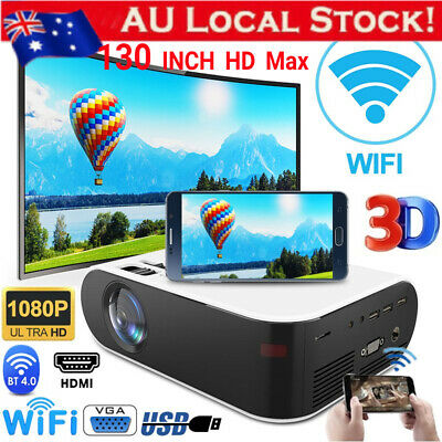 AU129.59 • Buy HD 1080P Portable Projector Android WiFi Bluetooth Theatre Home Cinema HDMI
