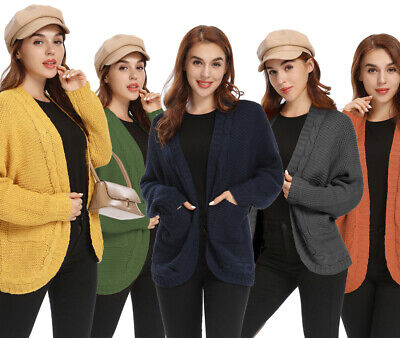 £7.99 • Buy Womens Ladies  Chunky Cable Knit Button Cardigan  Long Sleeves Grandad Plus Size