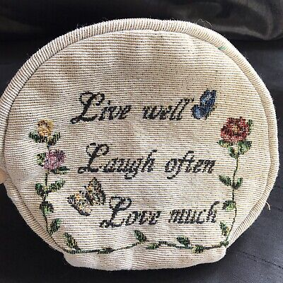 £4.99 • Buy Ladies Fabric Bag Pouch Money Makeup Live Laugh Love Craft Floral Gift