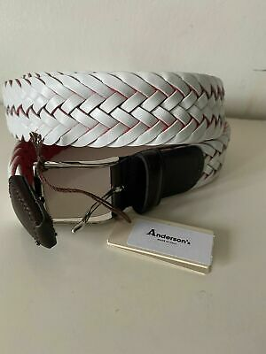 £40 • Buy Anderson's Weaved Men's White Leather Belt Made In Italy New RRP: £120
