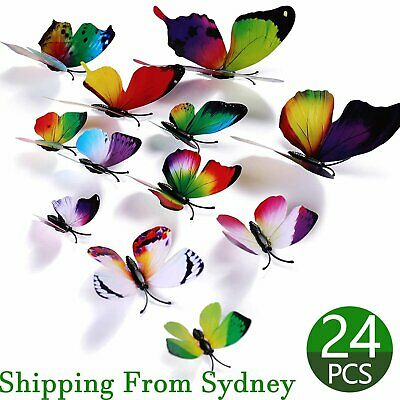 AU6.99 • Buy 24X Rainbow 3D Butterfly Wall Removable Stickers Decals Kids Art Nursery Magnets