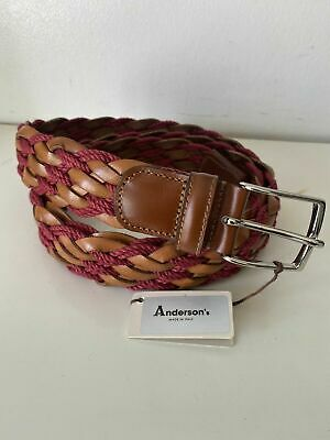 £40 • Buy Anderson's Weaved Men Multicoloured Leather Blend Belt Made In Italy NWT