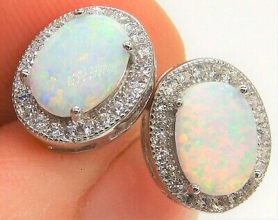 £13.95 • Buy Silver Opal Earrings  Oval Cluster Stud 925 Sterling Silver Cabochon Brand New