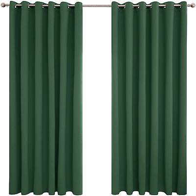 £17.42 • Buy Deconovo Green Curtains Thermal Insulated Eyelet Blackout Curtains For Bedroom