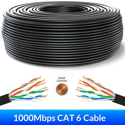 £20.96 • Buy 50-305m External CAT6 Outdoor PURE COPPER Cat 6 LAN Network Ethernet Cable Lot