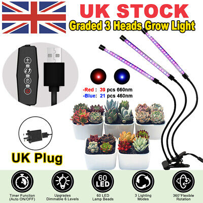 £9.99 • Buy 3 Head 60LED Grow Lights Growing Veg Flower For Indoor Clip Plant Lamp + Adapter