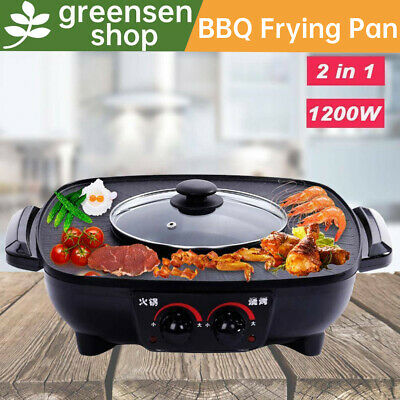 £39.39 • Buy 2 In 1 Electric Pan Hot Pot Smokeless BBQ Frying Roasting Cook Grill 1600W 1.8L