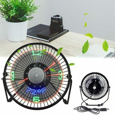 AU33.39 • Buy USB LED Clock Mini Fan With Real Temperature Display Desktop 360 Cooling Fans