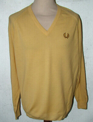 £29.99 • Buy Retro Fred Perry Yellow Lambswool V-Neck Jumper Ska Mod Scooter 60s 40  48in Ch
