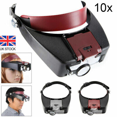 £8.91 • Buy LED Light Magnifying Glass Headset Head Headband 10 Times Magnifier Loupe W/ Box