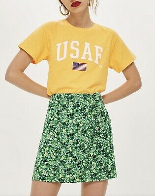 £4.99 • Buy TEE AND CAKE @ TOPSHOP Yellow USAF Cropped Slouch Fit T-shirt Top Size 10 Eu 38