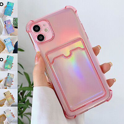 AU8.99 • Buy For IPhone 12 11 Pro Max XS XR  8 7 Glitter Rubber Wallet Card Holder Case Cover