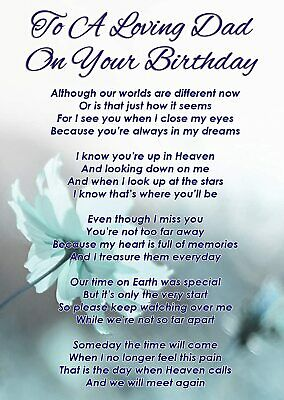 £2.99 • Buy To A Loving Dad On Your Birthday Graveside Poem Memorial Card & Stake F337