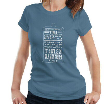 £9.95 • Buy Women's Doctor Who Tardis Time Quote White Text T-shirt, Blue Large Top