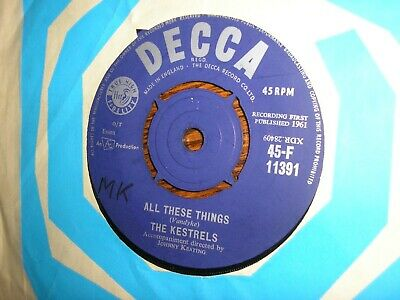 £16.99 • Buy Rare Early Mod Dancer The Kestrels All These Things / That's It U.k Decca 1961 M