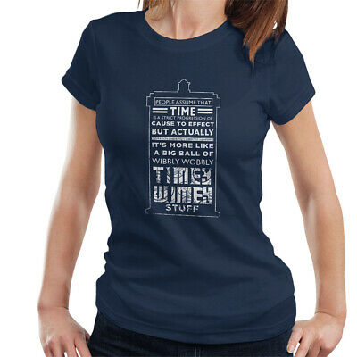 £9.95 • Buy Women's Doctor Who Tardis Time Quote White Text T-shirt, XX-Large Navy Top
