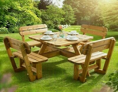 £599 • Buy Anchor Fast 8 Seater Pine Wood Picnic Bench Outdoor Bench Table Wood