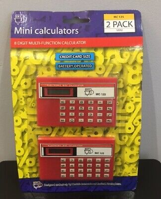 £6.99 • Buy Small Pocket Calculators Credit Card Size Mini Stationery Retro In Packaging X2