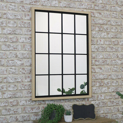 £50.62 • Buy Rustic Rectangle Window Mirror Country Boho Home Decor Wall Scandi Industrial