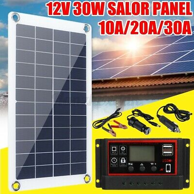 £21.64 • Buy 30W 12V Solar Panel USB Flexible Battery Charger Kit & Controller 10/20/30A