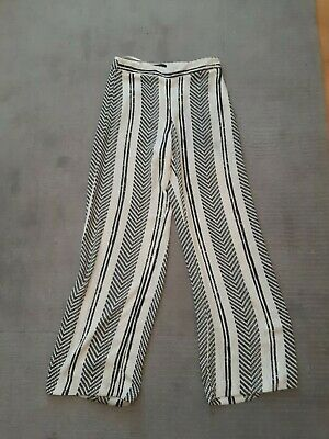 £5.99 • Buy River Island Wide Leg Trousers Cream Black Printed Size UK 8 Great For Summer!