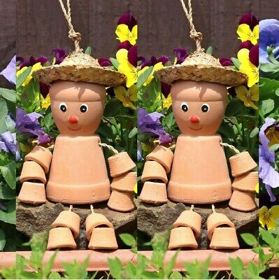 £14.79 • Buy 2x Terracotta Flower Pot Man Hanging Garden Patio Ornament Gift Free Delivery