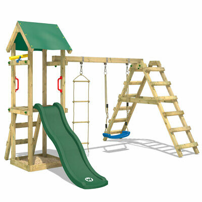 £371.94 • Buy Swing Set Wooden Climbing Frame With Sandpit And Green Slide - WICKEY TinyLoft