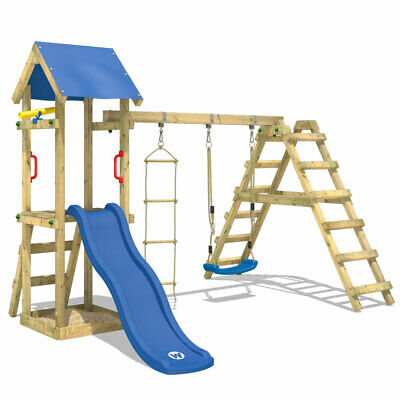 £371.94 • Buy Swing Set Wooden Climbing Frame With Sandpit And Blue Slide - WICKEY TinyLoft