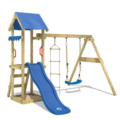 £323.94 • Buy Wooden Climbing Frame WICKEY TinyCabin - Swing Set With Blue Slide And Sandpit