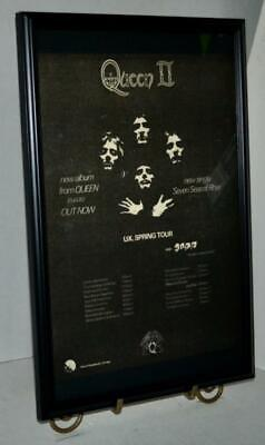 $59.99 • Buy Queen 1974 Queen 2 W / Spring Tour Dates Framed Promotional Concert Poster / Ad