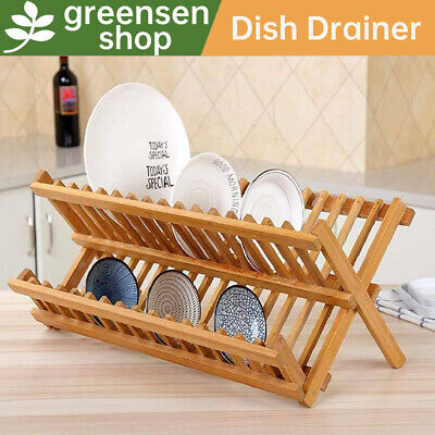 £15.99 • Buy Double Tier Wooden Dish Drainer Foldable Bamboo Draining Rack Large Capacity In