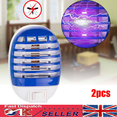 £9.55 • Buy 2pcs Electric UV Insect Killer Mosquito Fly Pest Bug Zapper Trap LED Light Lamp