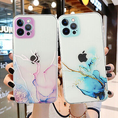 AU13.28 • Buy Marble Clear Shockproof Case Glitter Cover For IPhone 13 12 11 Pro Max XS XR 8 7