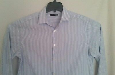 £20.47 • Buy THEORY- Authentic Blue Striped French Cuff DRESS SHIRT 15.5 32/33 R - Very Good