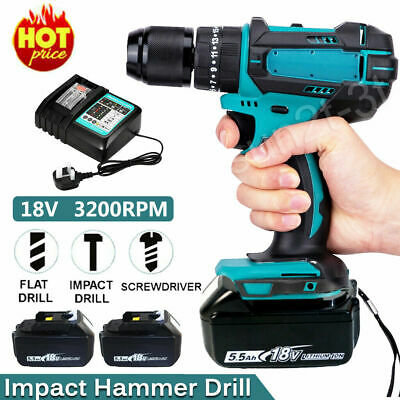 £34.70 • Buy Cordless Hammer Impact Power Drill Electric Screwdriver Replace For Makita 18V